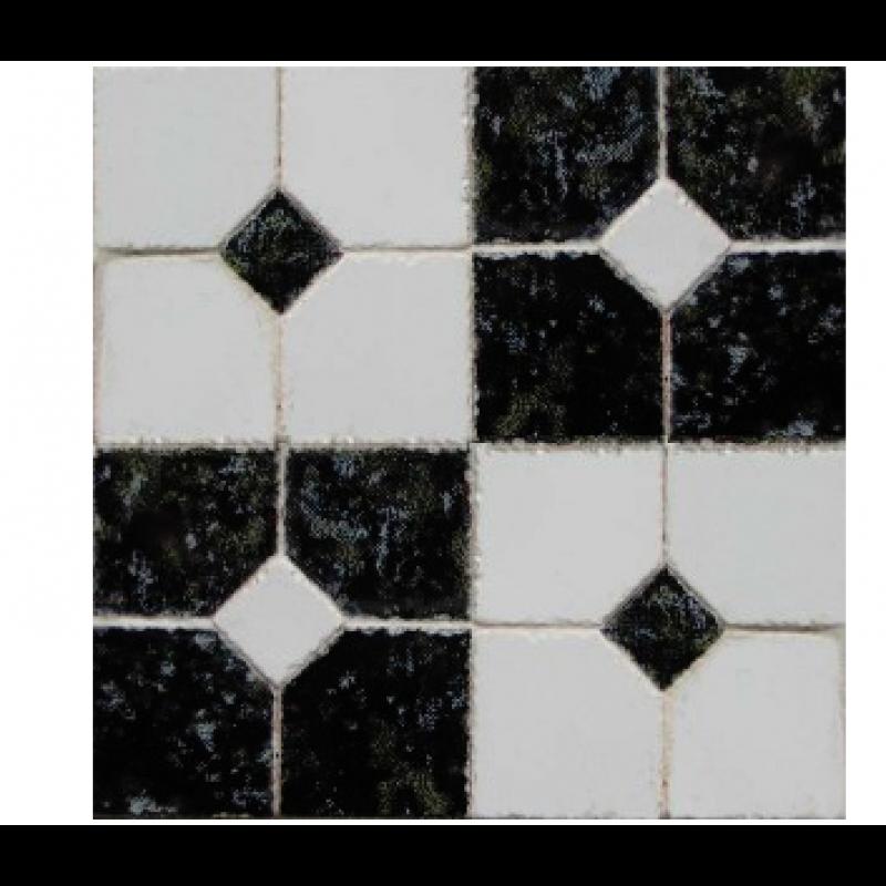 3/4inch Black & White Decorative Tiles, 8 Sets of 4