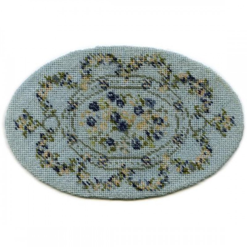 Kate Oval (blue) Dolls' House Needlepoint Medium Carpet Kit