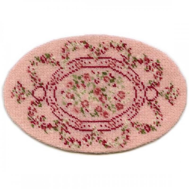 Kate Oval (pink) Dolls' House Needlepoint Medium Carpet Kit