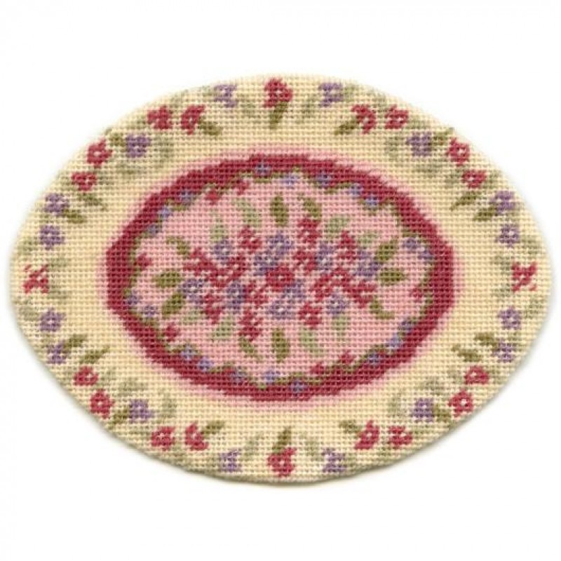 Lilian Oval (pink) Dolls' House Needlepoint Small Carpet Kit
