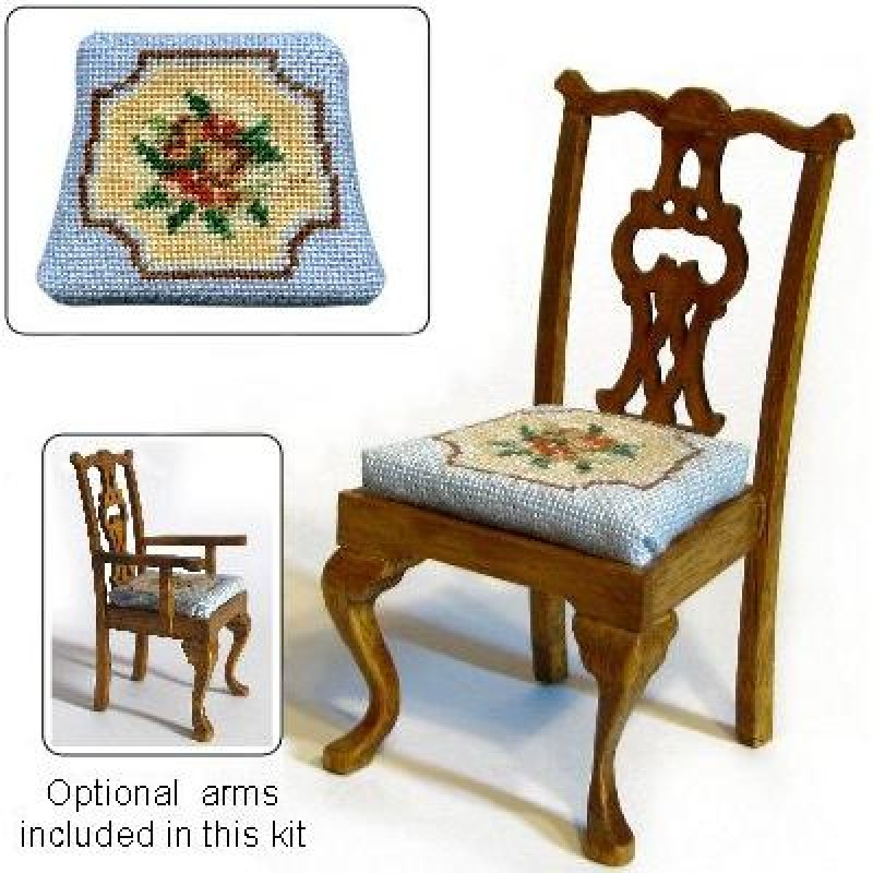 Alice (blue) Dolls' House Needlepoint Dining Chair Kit