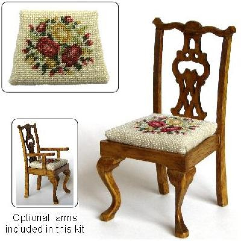 Summer Roses Dolls' House Needlepoint Dining Chair Kit