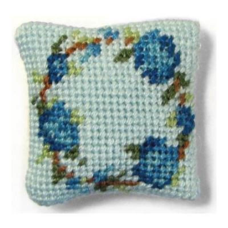 Flower Ring (blue) Dolls' House Needlepoint Cushion Kit