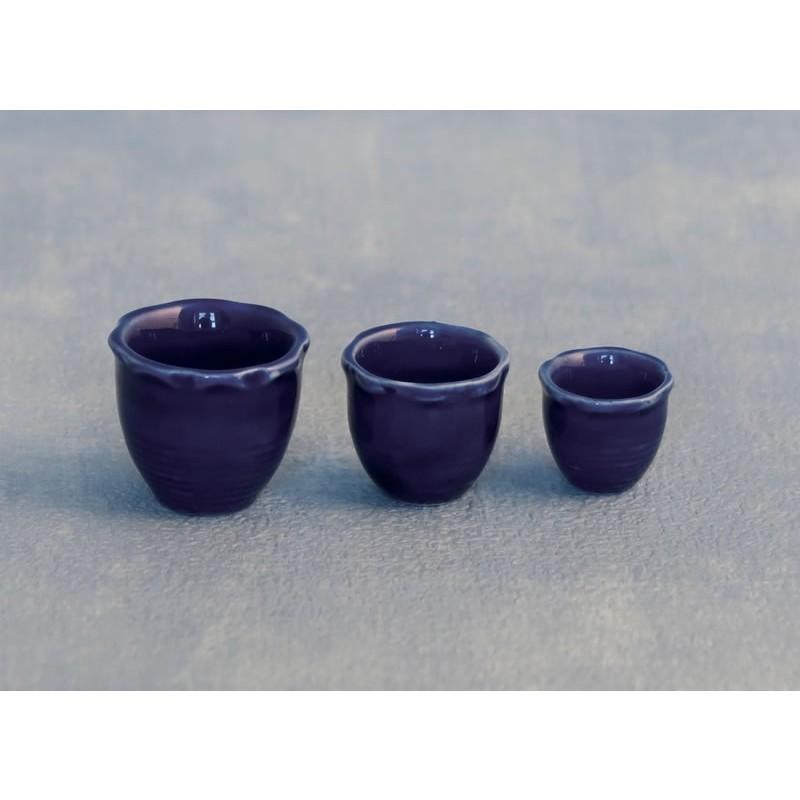 Blue Piecrust Pots pk 3