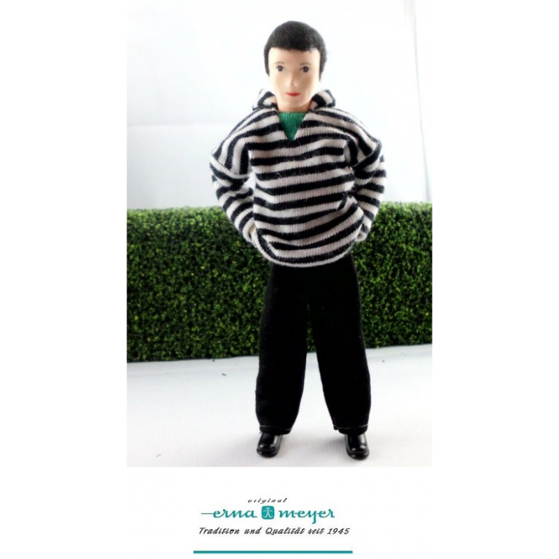 Modern Father Doll in Striped Hoodie
