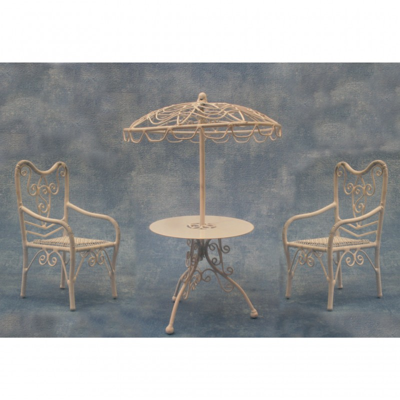 Parasol, Table and Two Chairs
