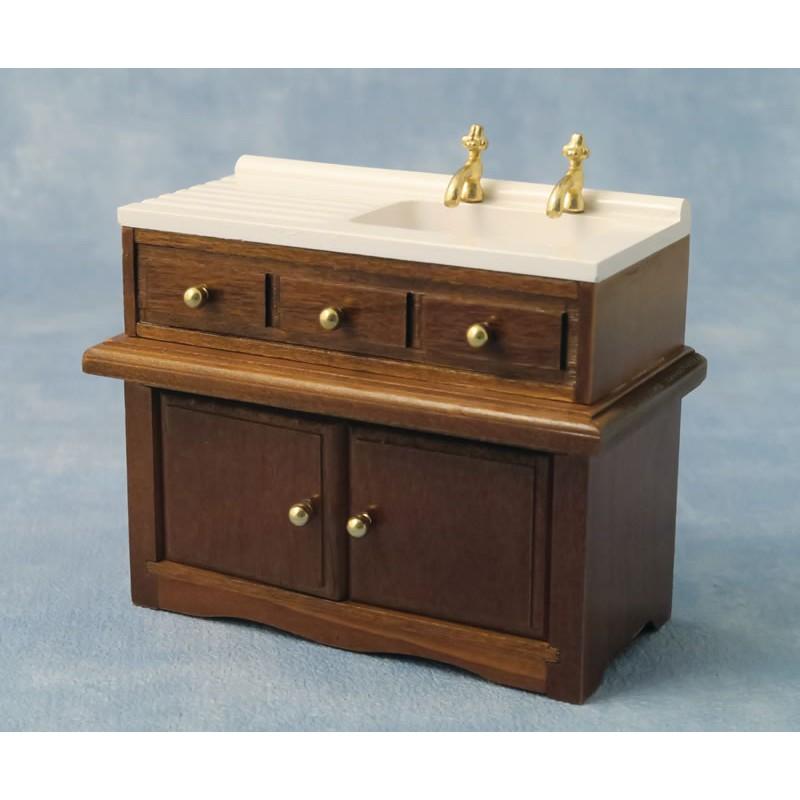 Babettes Miniaturen Sink Unit Walnut