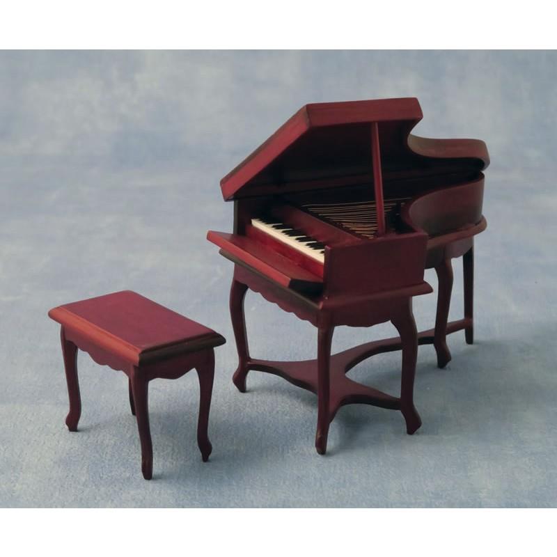 Babettes Miniaturen Piano & Stool Mahogany