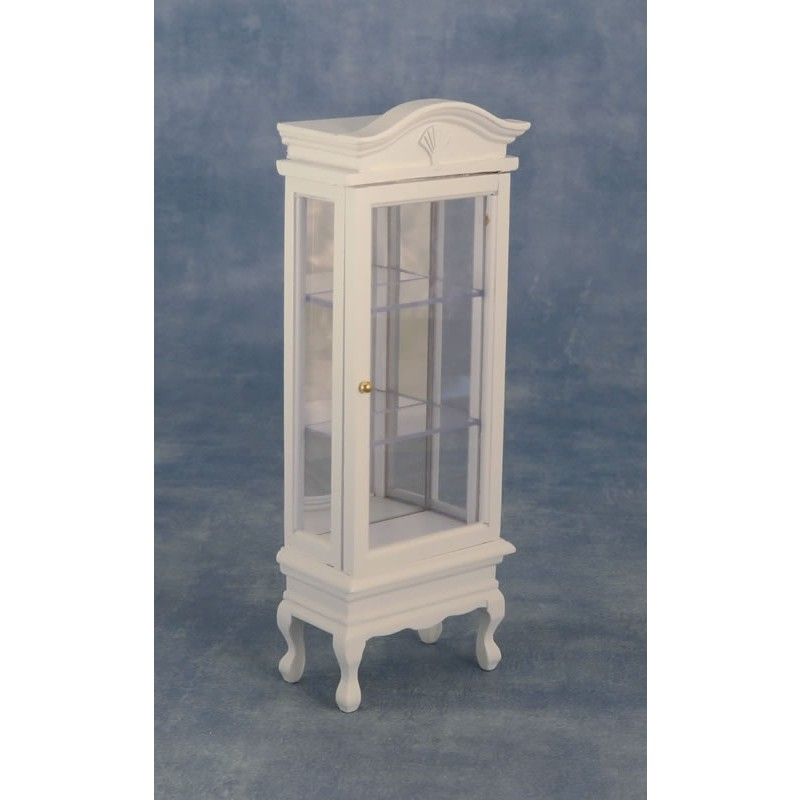 Babettes Miniaturen Display Cabinet w Glass Shelves White