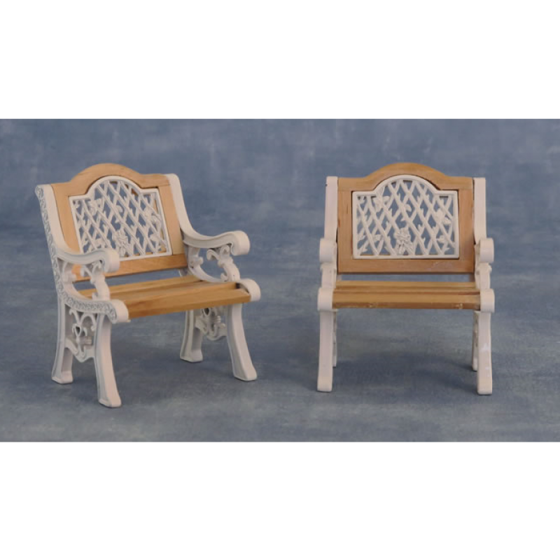 Babettes Miniaturen Iron Garden Chairs 2 pcs White