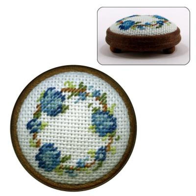 Flower Ring (blue) Dolls' House Needlepoint Footstool Kit