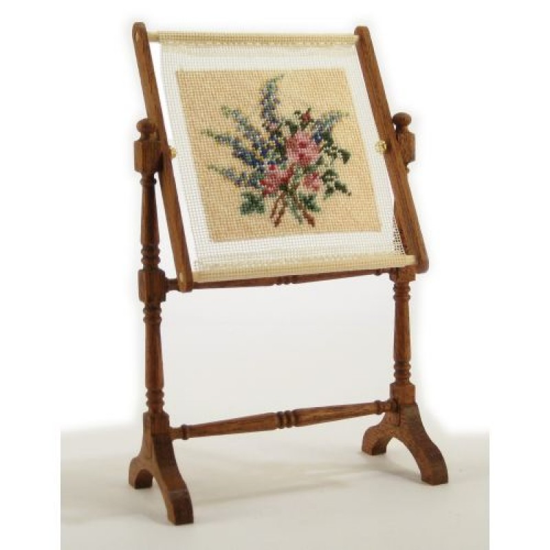 Larkspur And Roses Dolls' House Needlepoint Needlework Stand Kit