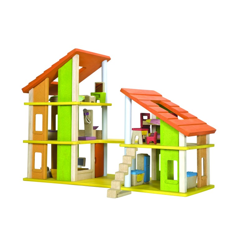 Yellow and Green Chalet Dolls' House with Furniture