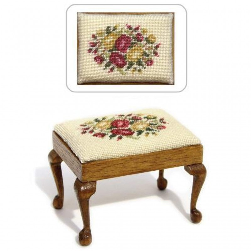 Summer Roses Dolls' House Needlepoint Rectangular Stool Kit