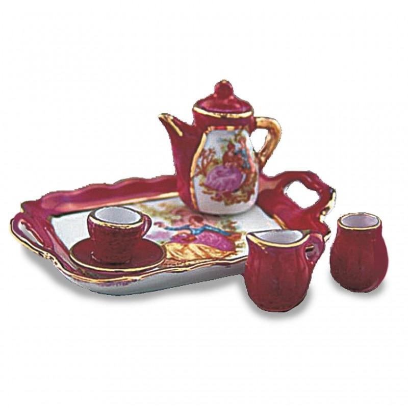 Red Lustre Tea Set On Tray