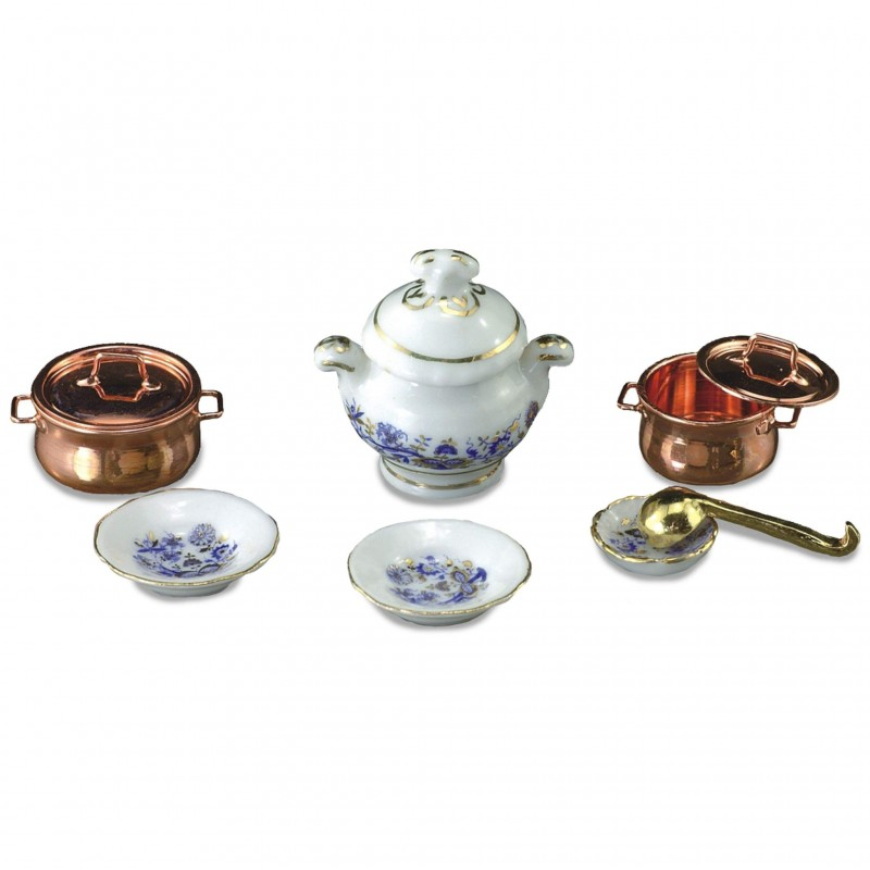 Blue And Gold Soup Tureen Set