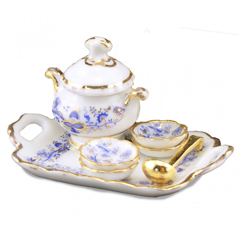 Blue And Gold Tray With Soup Tureen