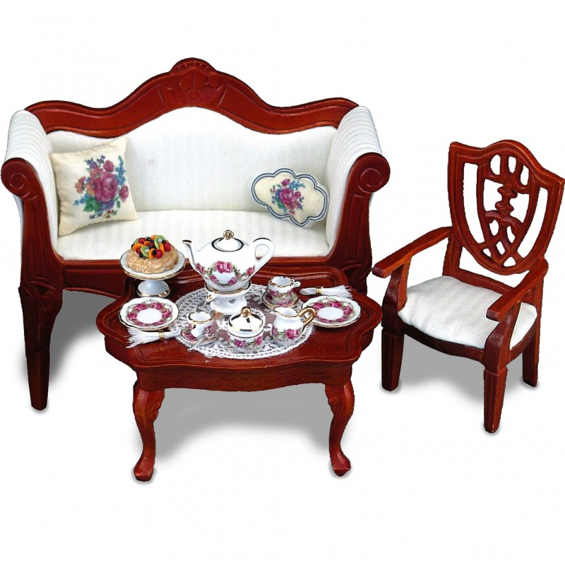 Coffee table decorated with rose garden tea set