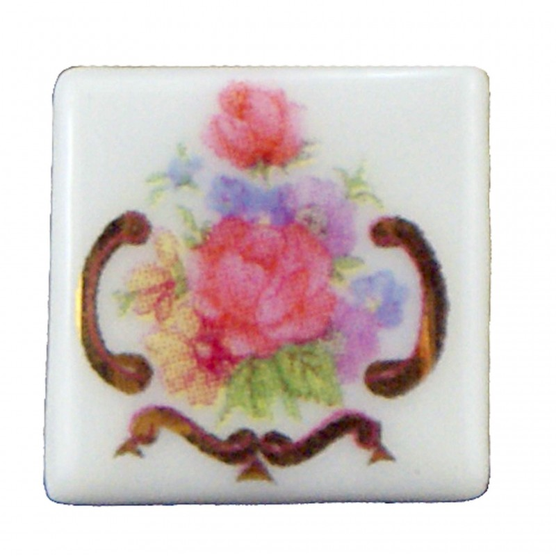 Porcelain Dresden Rose Tiles, 12 pieces