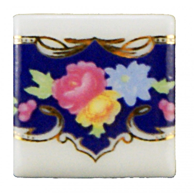 Royal Blue Floral Tiles, 12 pieces