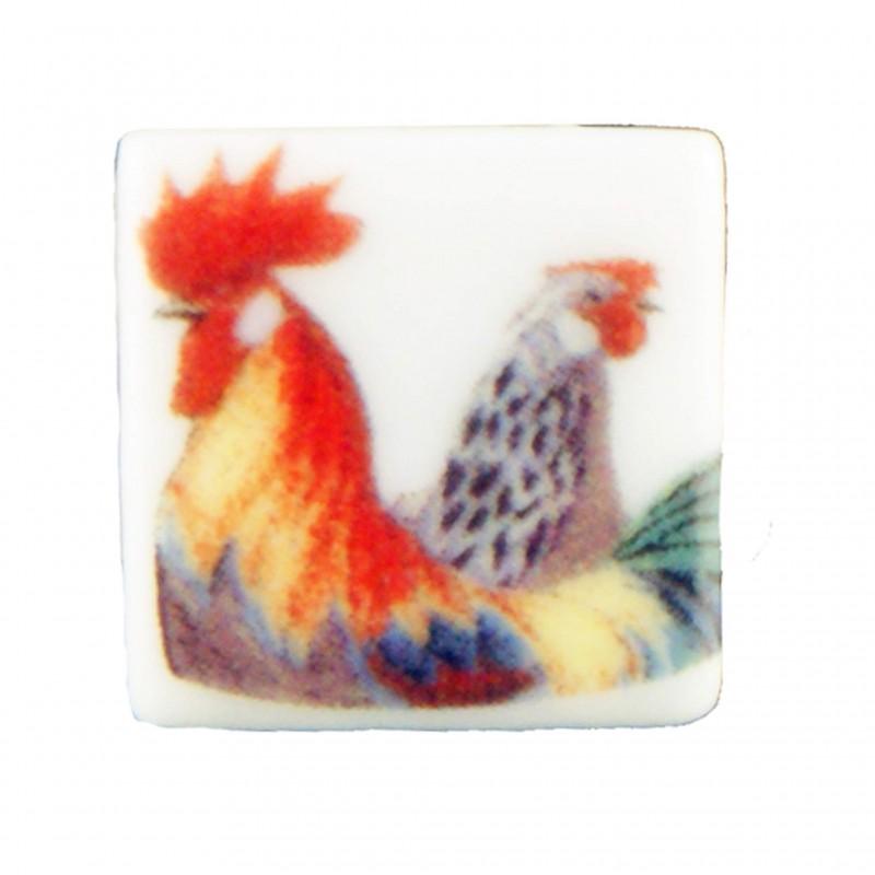 Cockerel tiles, 6 pieces
