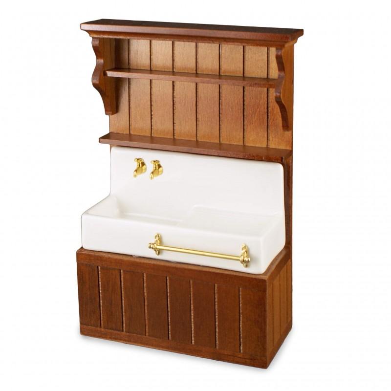 Empty Brown Wood Kitchen Sink