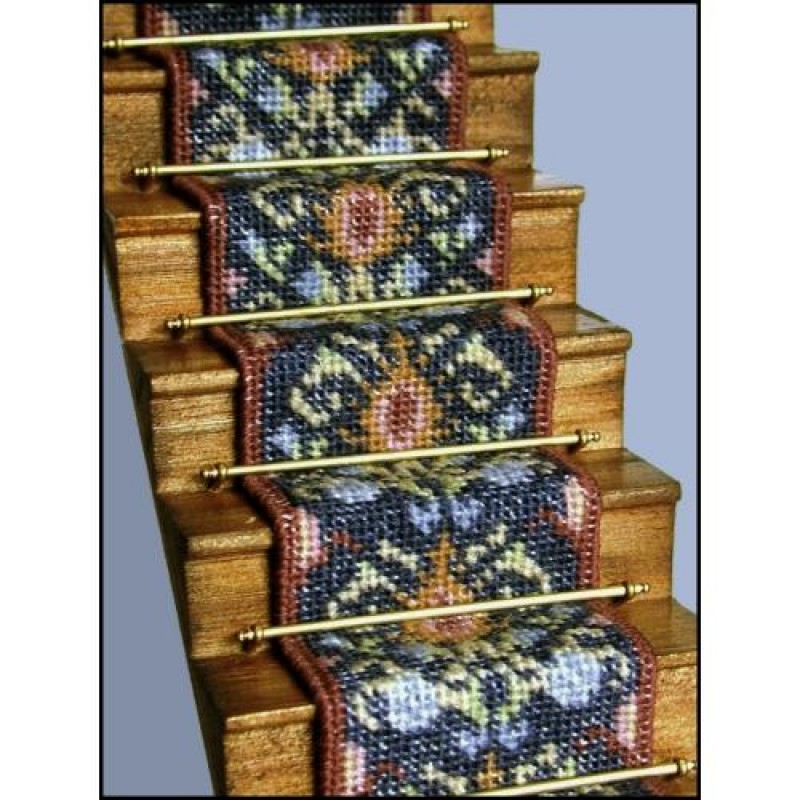 May (blue) Dolls' House Needlepoint Stair Carpet Kit