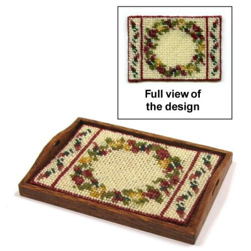 Summer Roses Dolls' House Needlepoint Tray Cloth Kit