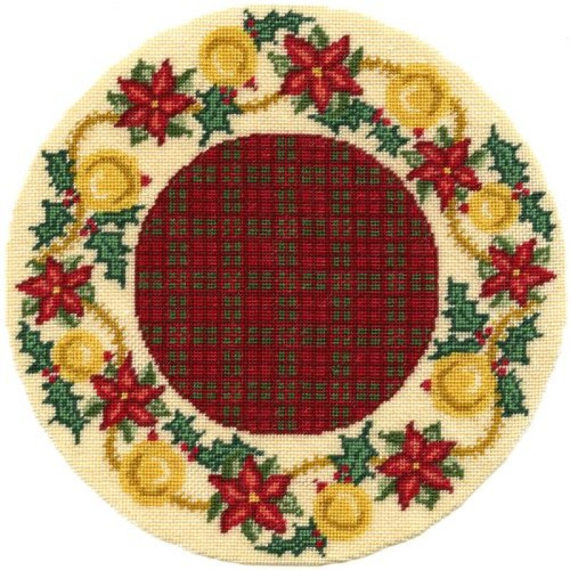 Poinsetta Garland Dolls' House Needlepoint Christmas Tree Mat Kit
