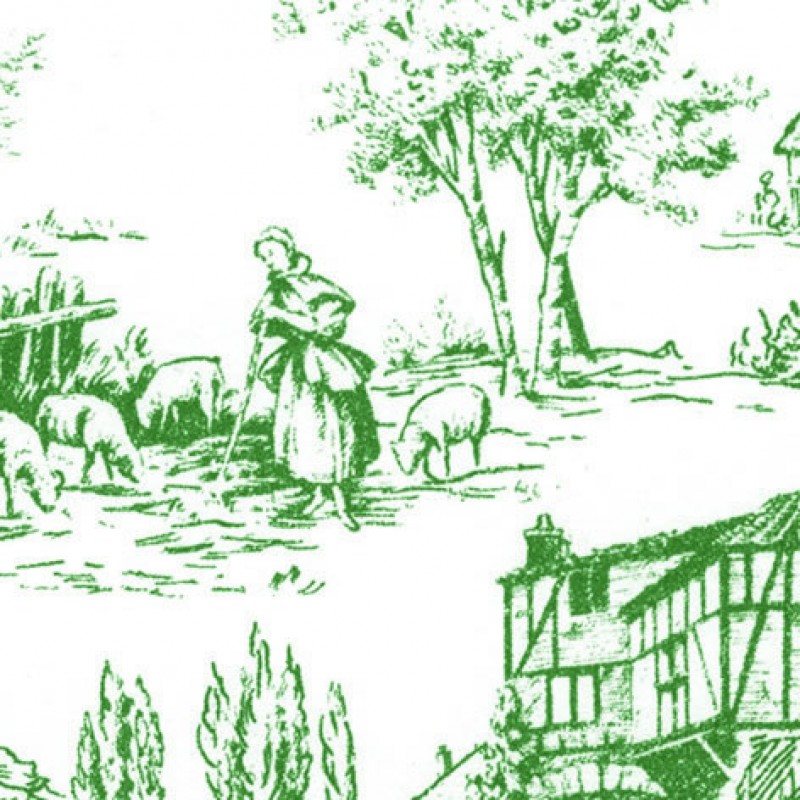 Small Interiors Toile de Jouy Green