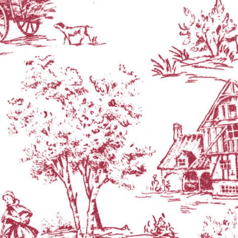 Small Interiors Toile de Jouy Raspberry