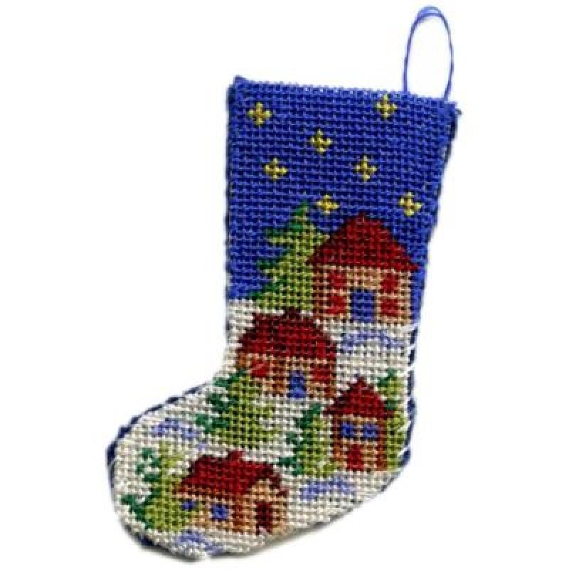 Snowy Village Dolls' House Needlepoint Christmas Stocking Kit