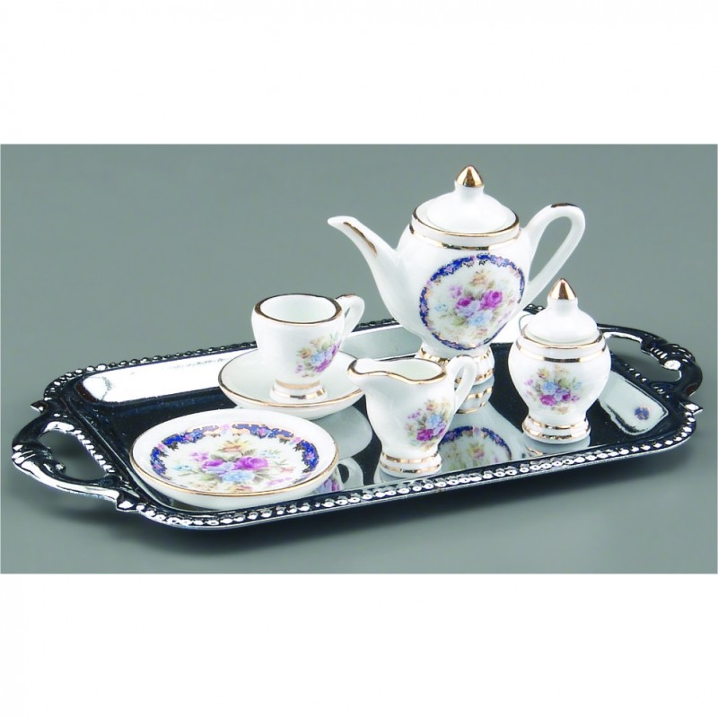 Tea for One On Silver Tray, 7 pieces
