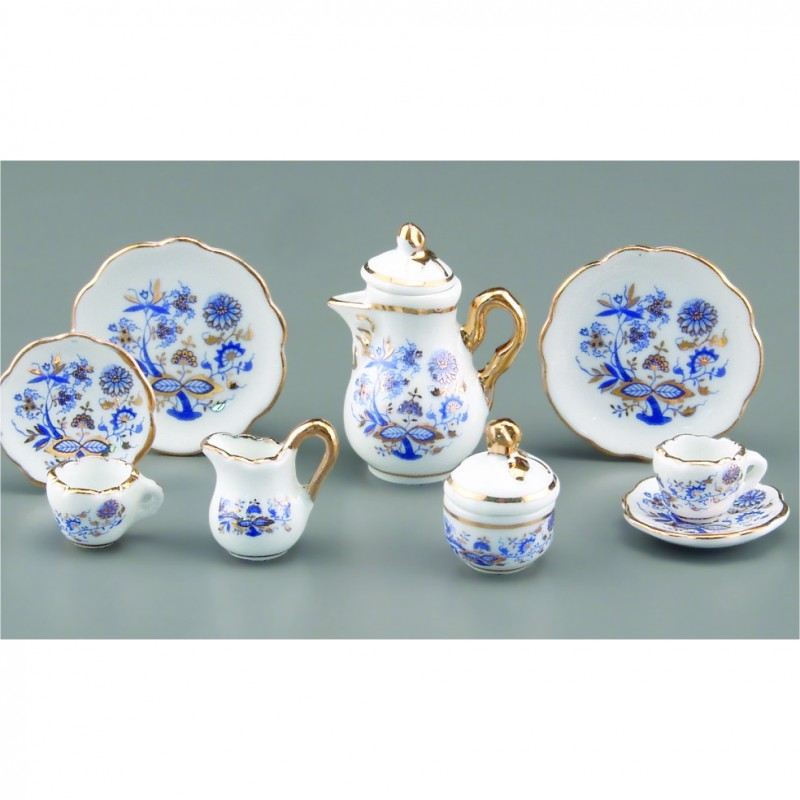 Blue And Gold Tea Set, 9 pieces