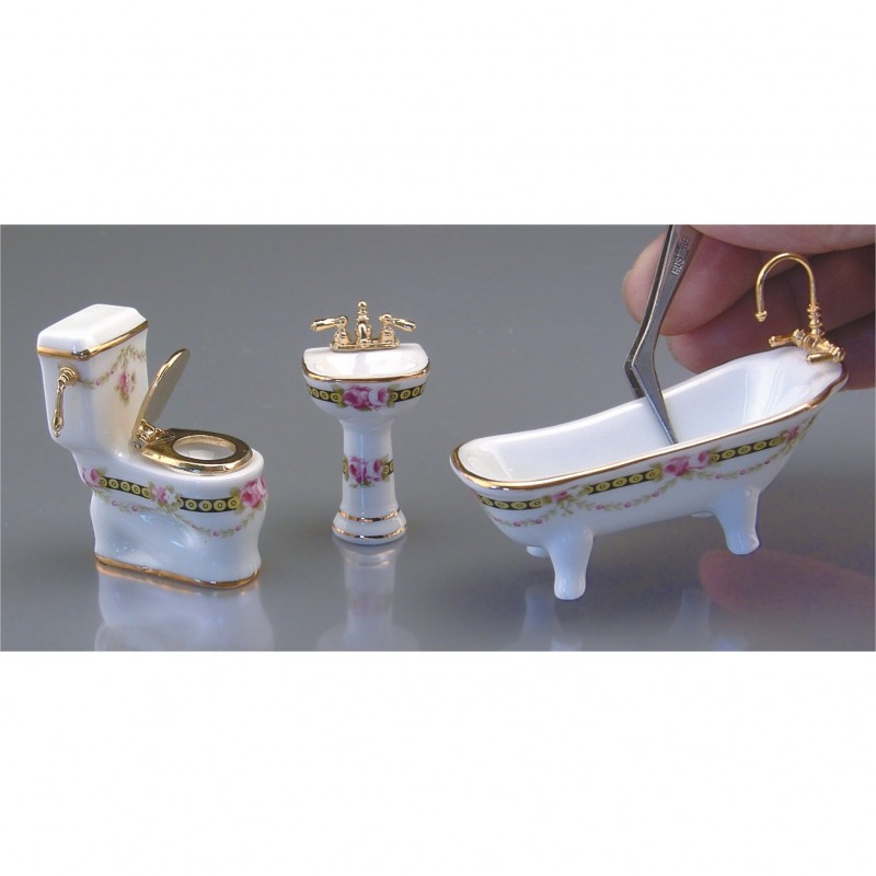 1/24th Scale Victorian Rose Bathroom Set, 3 Pieces