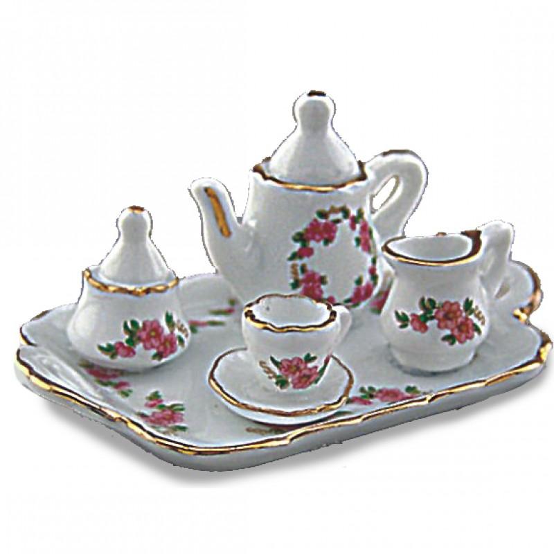 Lisa Floral Design Tea Tray, 6 pieces