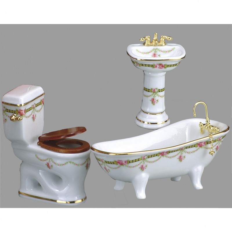 Victoria Rose Bathroom Set With Low Flush, 3 Pieces