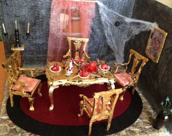 vampire dinner miniature scene halloween
