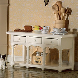 4197Victorian White Sideboard with Shelf