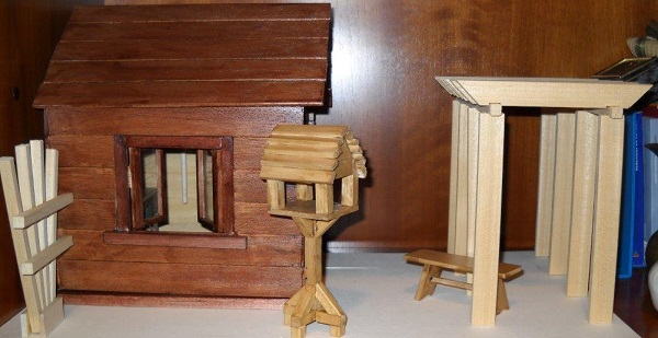miniature gazebo and pergola in 1:12 scale