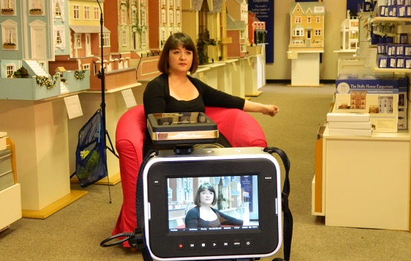 Amy Purser, Dolls House Emporium Head of Brand, recordign a forthcoming documentary in our Ripley shop