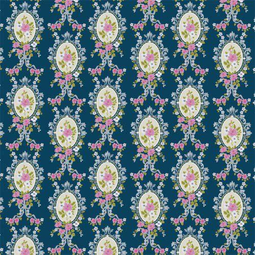 The Dolls House Emporium Blue Victorian Cameo Wallpaper
