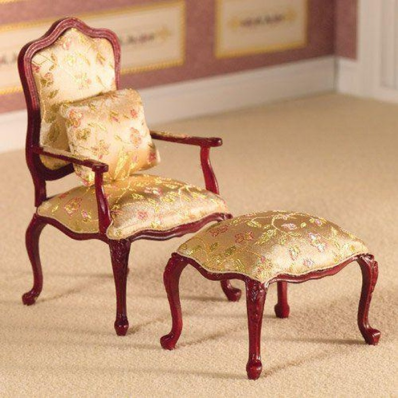 Finely Carved Armchair & Stool