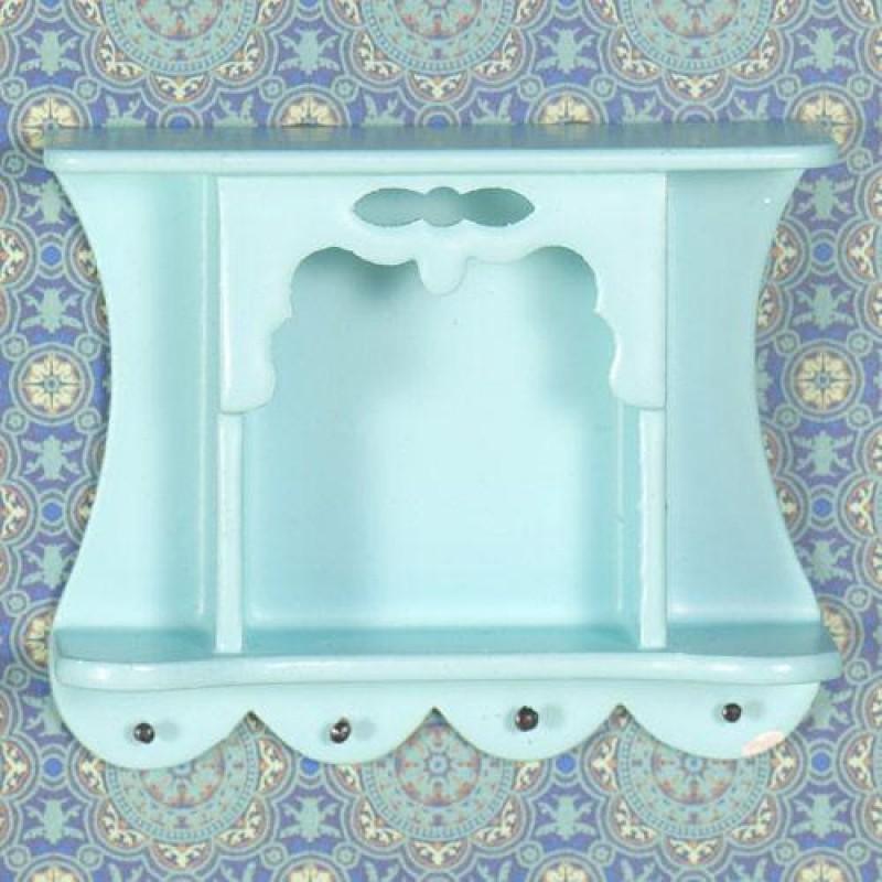 Small Blue Shelf with Hooks