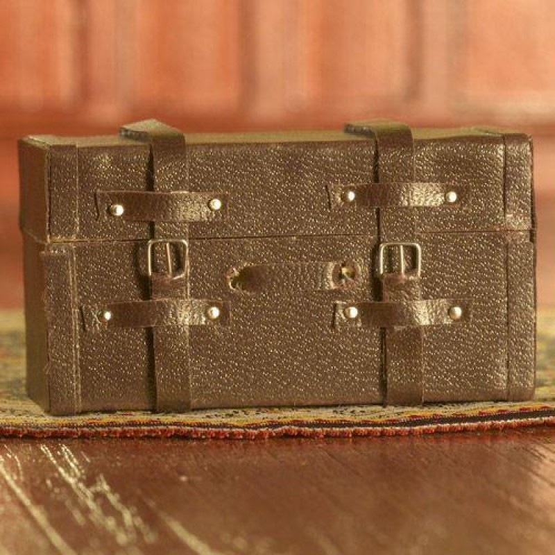 Brown Leather Suitcase/Trunk