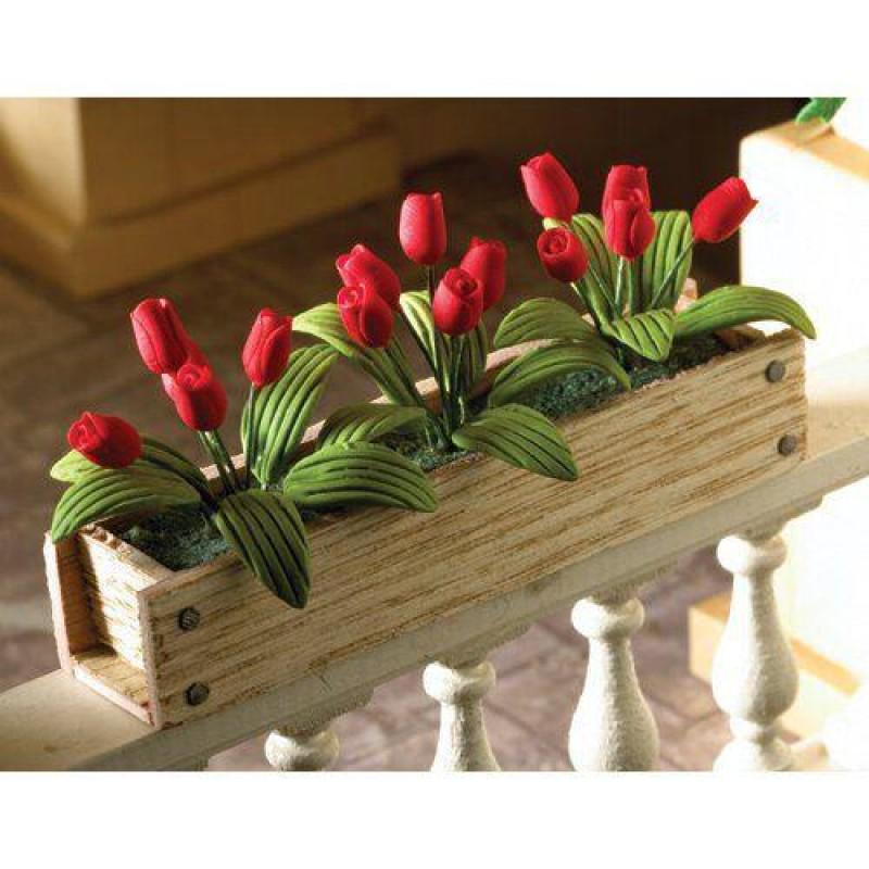 Window Box Red Tulips, width 82mm