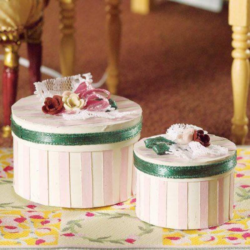 Luxury Pink Stripe Hat Boxes, 2 pcs