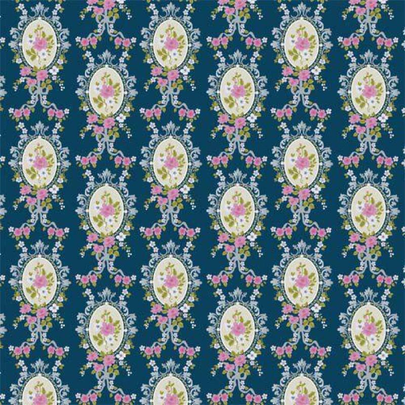 Blue Victorian Cameo Wallpaper 430 x 600mm