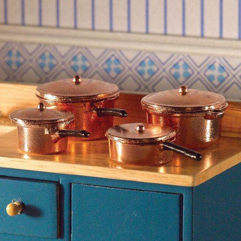 Copper Saucepans & Casserole, 8 pcs