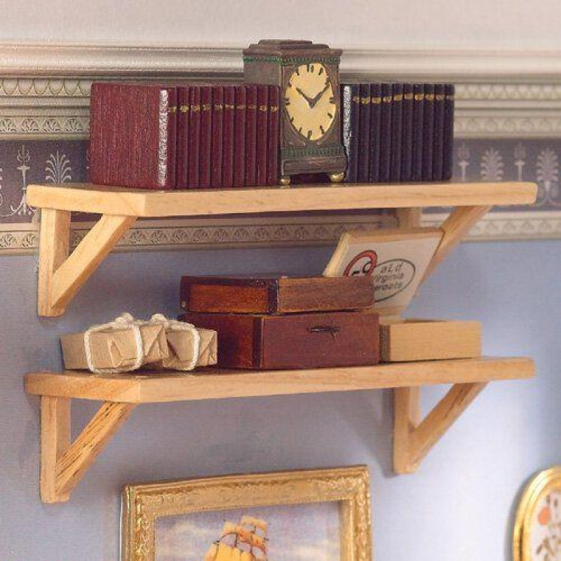 Two Large Pine Wall Shelves
